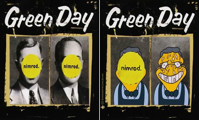 Capas de álbuns de metal divertidamente recriadas com personagens dos Simpsons 1