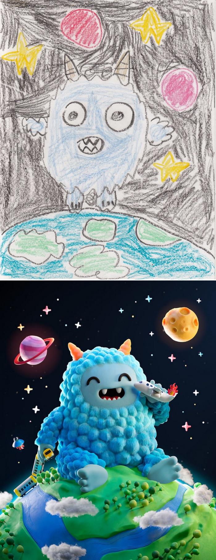 Projeto Monstro - Crianças desenham monstros e artistas recriam com sua arte 9