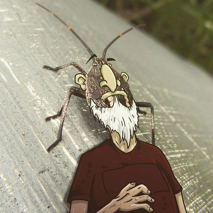 Um ilustrador adiciona monstros engraçados pela cidade 7