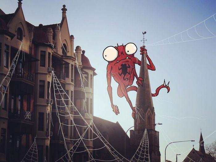 Um ilustrador adiciona monstros engraçados pela cidade 11