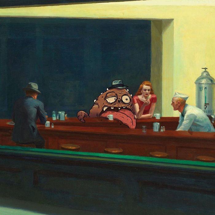 Um ilustrador adiciona monstros engraçados pela cidade 15