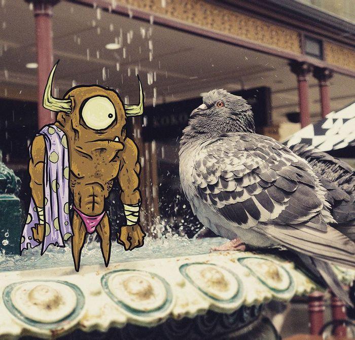 Um ilustrador adiciona monstros engraçados pela cidade 19