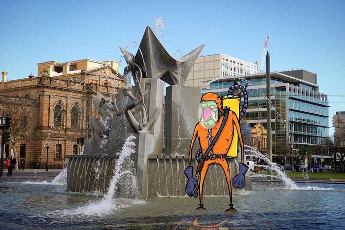 Um ilustrador adiciona monstros engraçados pela cidade 22