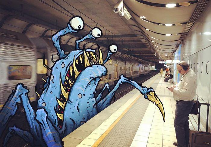 Um ilustrador adiciona monstros engraçados pela cidade 34
