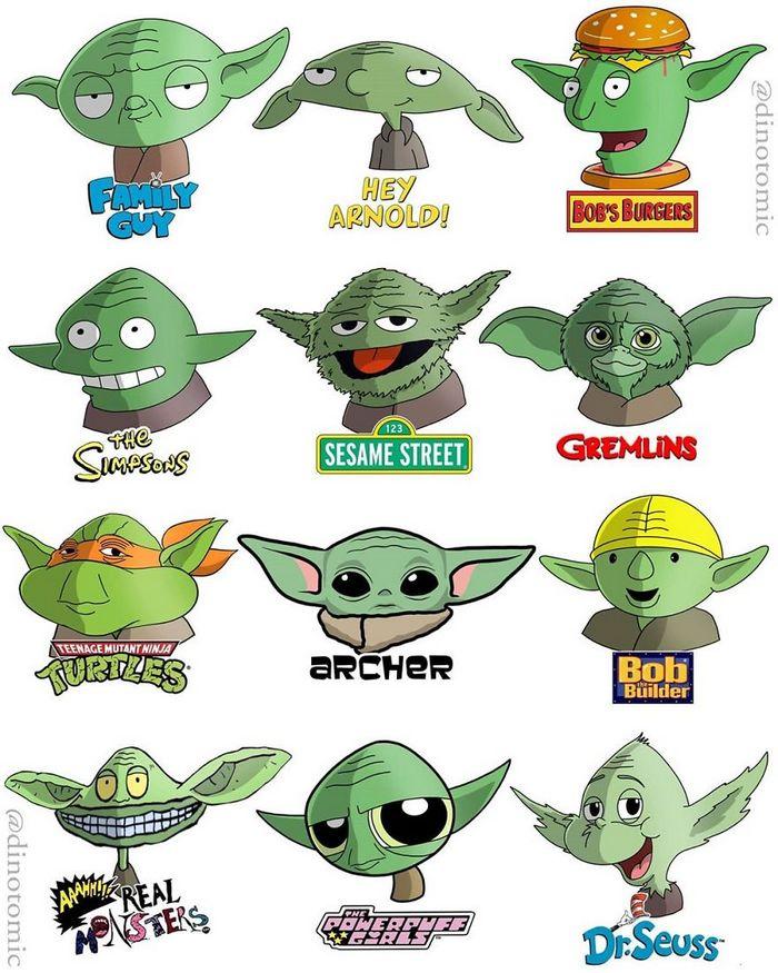Artista mostra a aparência de vários personagens em diferentes universos de desenhos animados 2