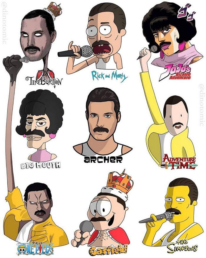 Artista mostra a aparência de vários personagens em diferentes universos de desenhos animados 4