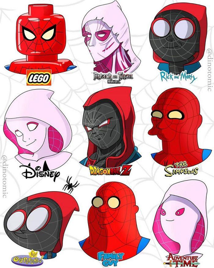 Artista mostra a aparência de vários personagens em diferentes universos de desenhos animados 5