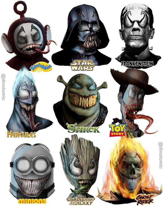 Artista mostra a aparência de vários personagens em diferentes universos de desenhos animados 8