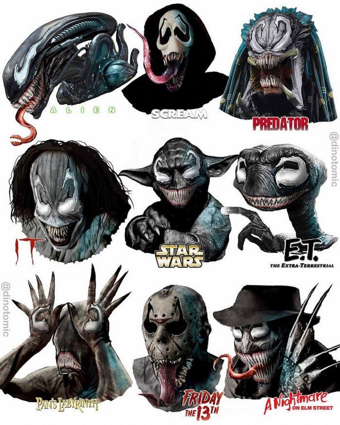 Artista mostra a aparência de vários personagens em diferentes universos de desenhos animados 9