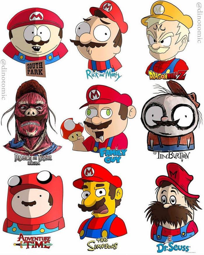 Artista mostra a aparência de vários personagens em diferentes universos de desenhos animados 13