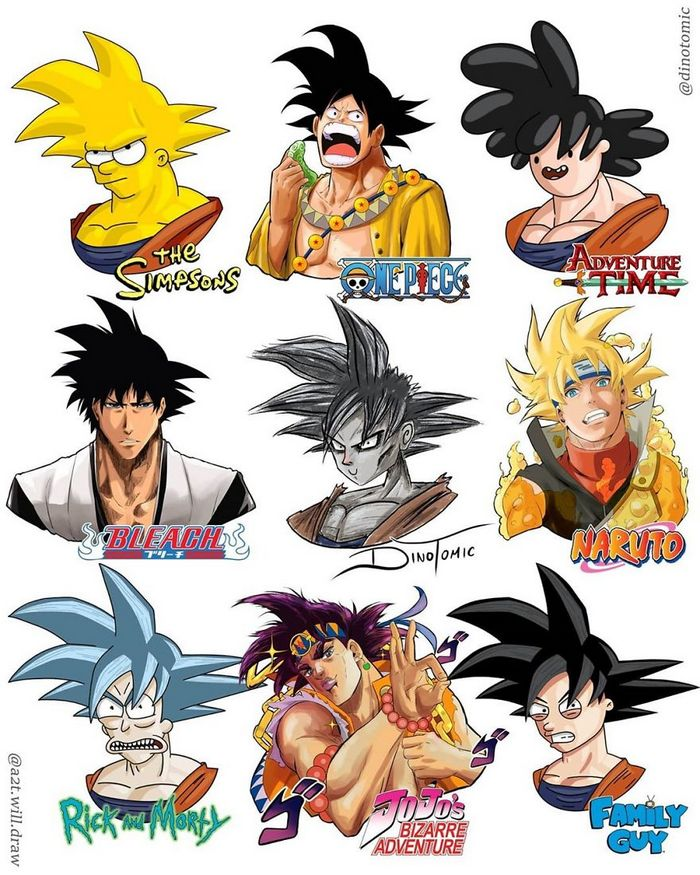 Artista mostra a aparência de vários personagens em diferentes universos de desenhos animados 16