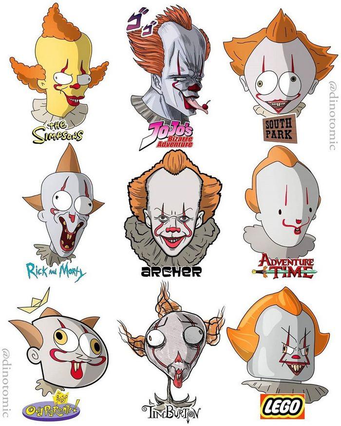 Artista mostra a aparência de vários personagens em diferentes universos de desenhos animados 18