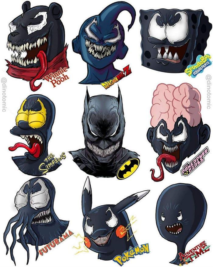 Artista mostra a aparência de vários personagens em diferentes universos de desenhos animados 19