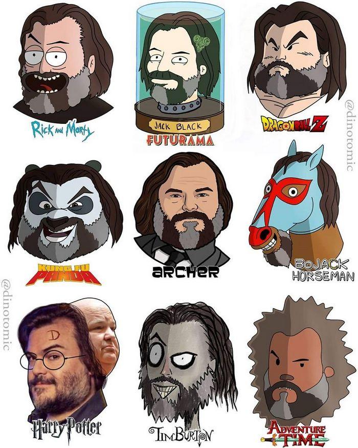 Artista mostra a aparência de vários personagens em diferentes universos de desenhos animados 24