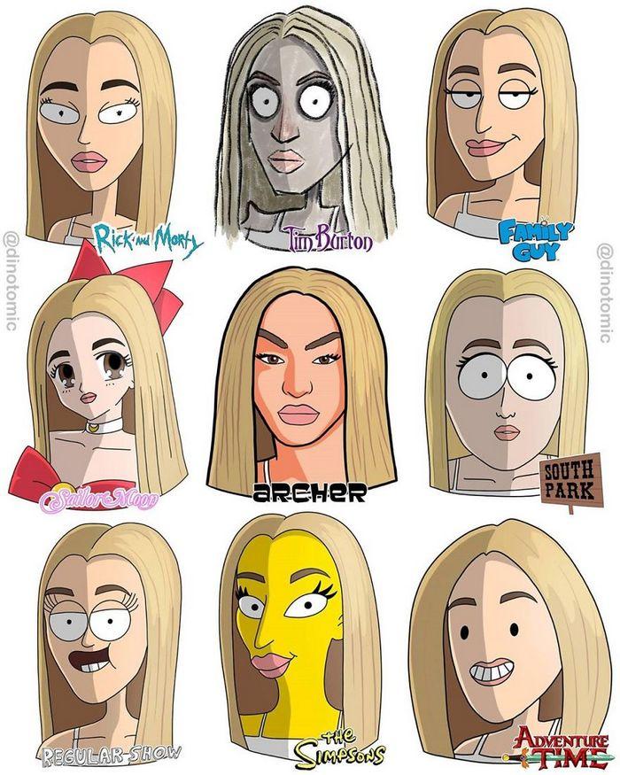 Artista mostra a aparência de vários personagens em diferentes universos de desenhos animados 36