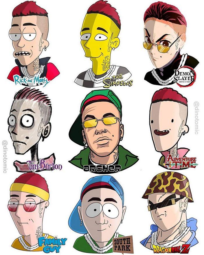 Artista mostra a aparência de vários personagens em diferentes universos de desenhos animados 37