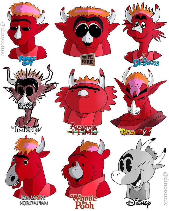 Artista mostra a aparência de vários personagens em diferentes universos de desenhos animados 43