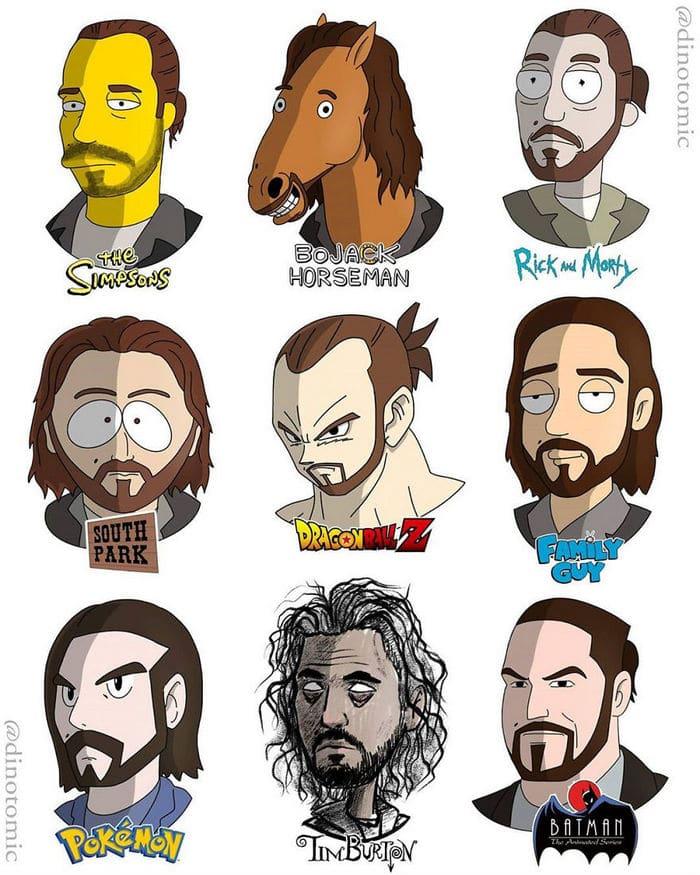 Artista mostra a aparência de vários personagens em diferentes universos de desenhos animados 47