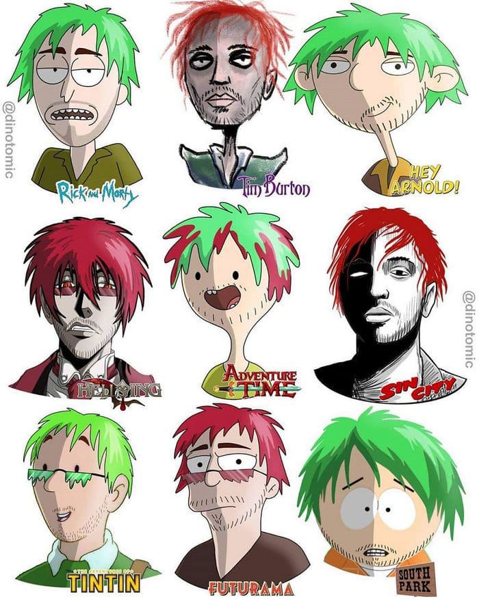 Artista mostra a aparência de vários personagens em diferentes universos de desenhos animados 49
