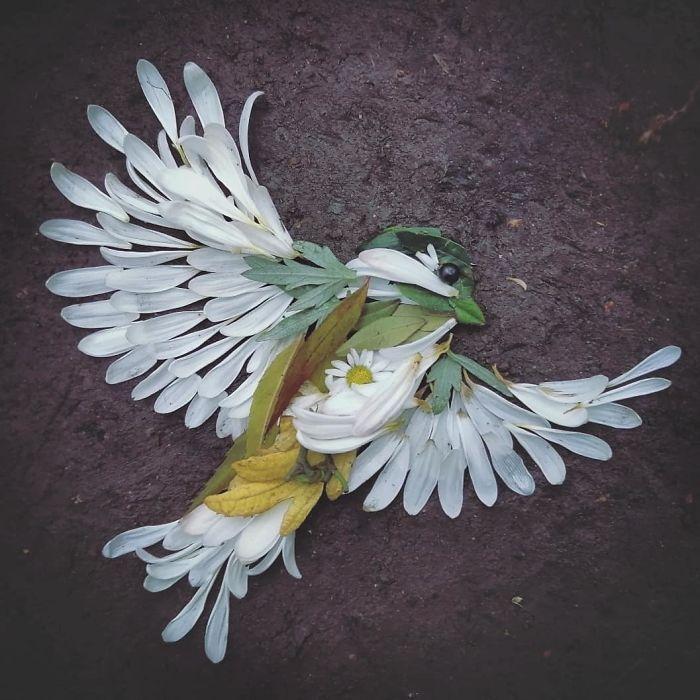 Artista usa coisas que encontra nas florestas para criar lindas mandalas de pássaros 5