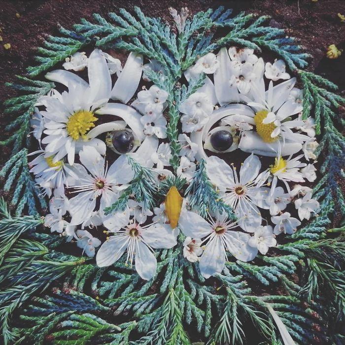 Artista usa coisas que encontra nas florestas para criar lindas mandalas de pássaros 7