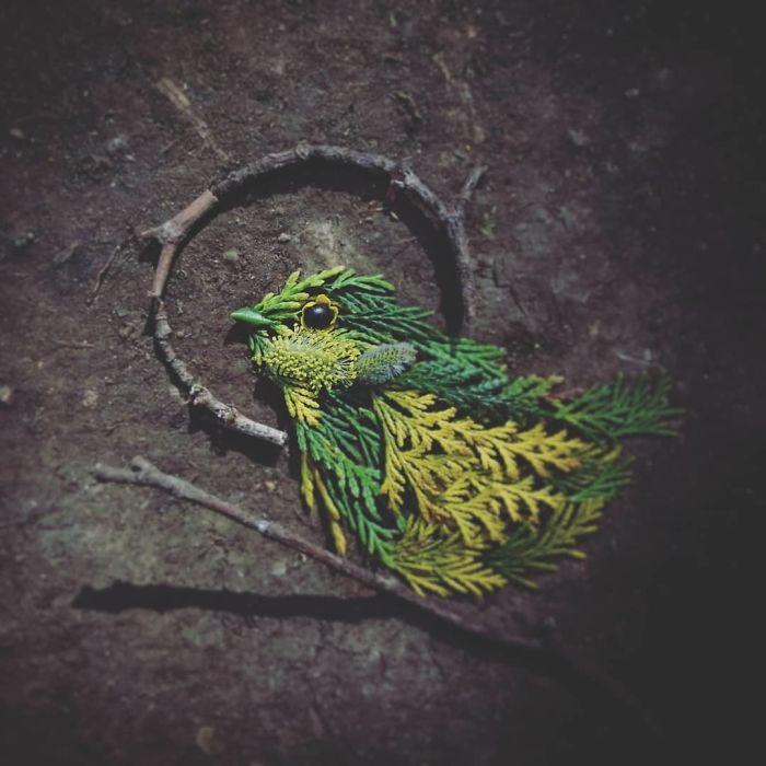 Artista usa coisas que encontra nas florestas para criar lindas mandalas de pássaros 9
