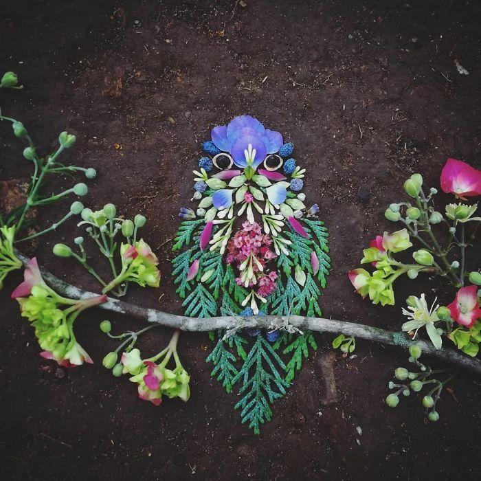 Artista usa coisas que encontra nas florestas para criar lindas mandalas de pássaros 19