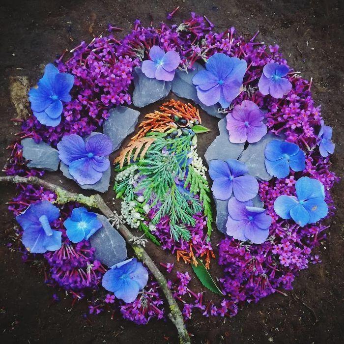 Artista usa coisas que encontra nas florestas para criar lindas mandalas de pássaros 21