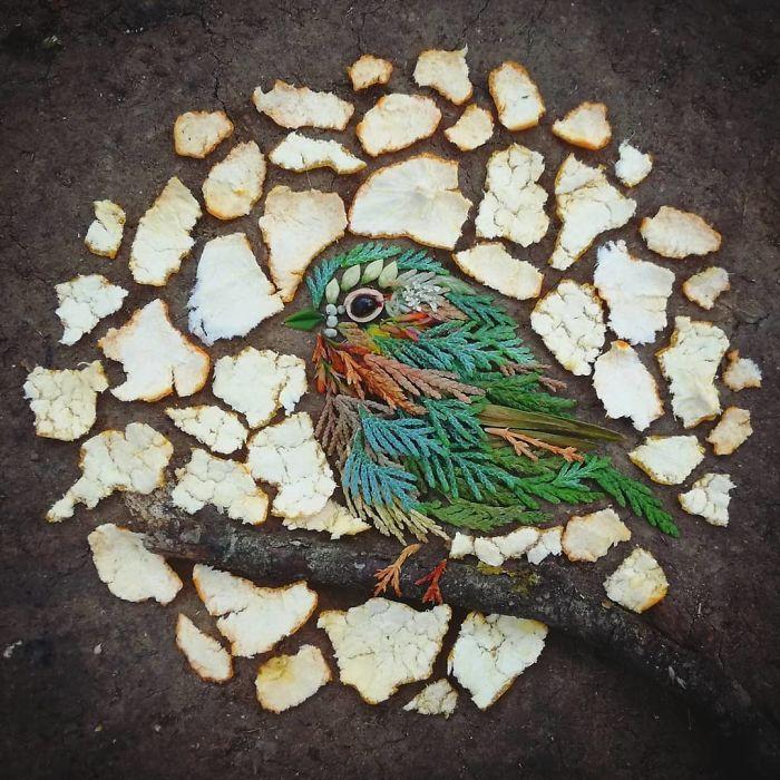 Artista usa coisas que encontra nas florestas para criar lindas mandalas de pássaros 24