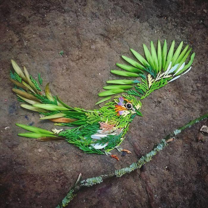 Artista usa coisas que encontra nas florestas para criar lindas mandalas de pássaros 27