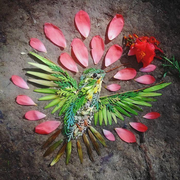 Artista usa coisas que encontra nas florestas para criar lindas mandalas de pássaros 28