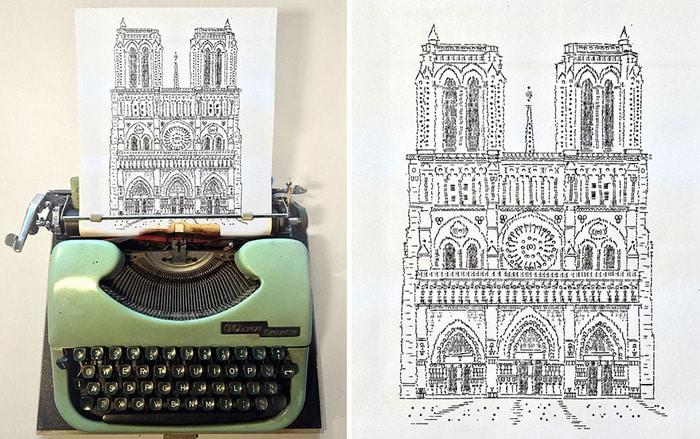 Este artista desenha com uma máquina de escrever 2
