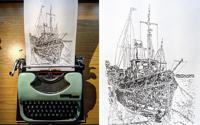 Este artista desenha com uma máquina de escrever 4