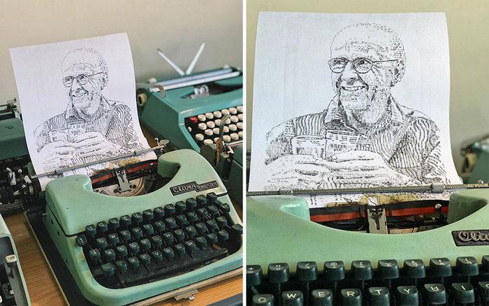 Este artista desenha com uma máquina de escrever 8