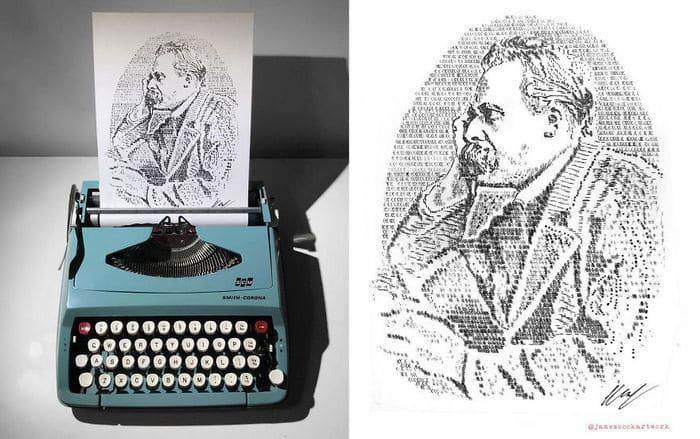 Este artista desenha com uma máquina de escrever 11