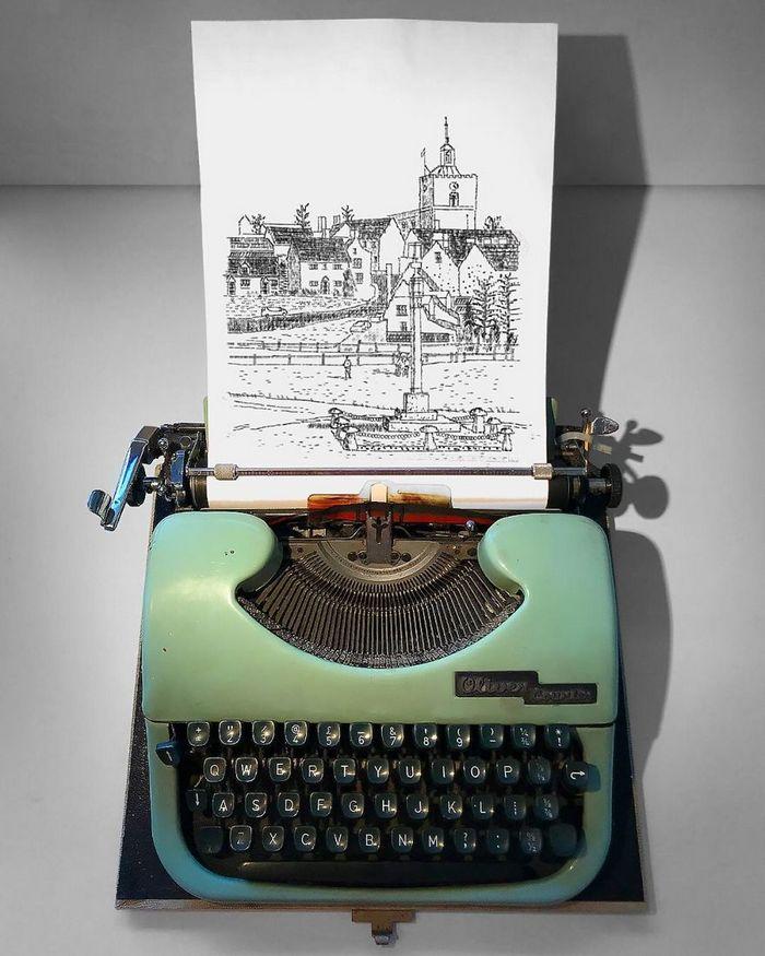Este artista desenha com uma máquina de escrever 12