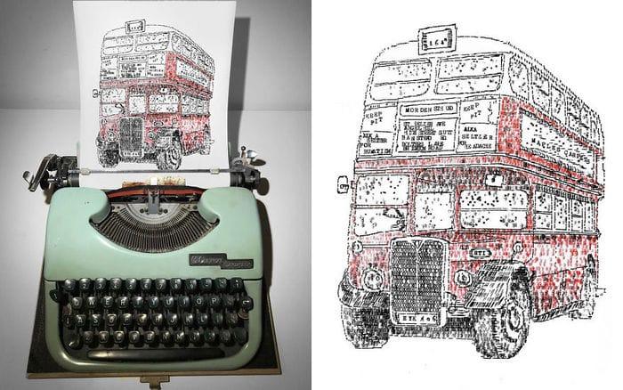 Este artista desenha com uma máquina de escrever 13