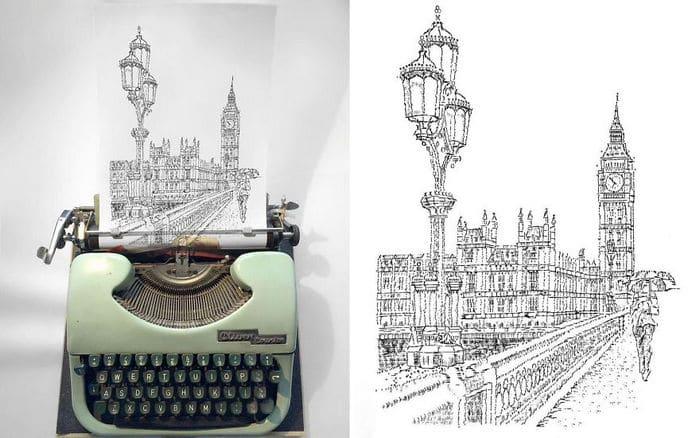 Este artista desenha com uma máquina de escrever 14