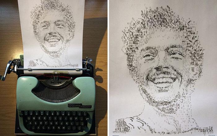 Este artista desenha com uma máquina de escrever 15