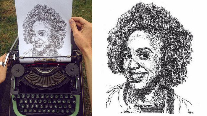 Este artista desenha com uma máquina de escrever 16