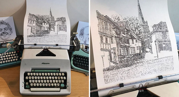 Este artista desenha com uma máquina de escrever 19