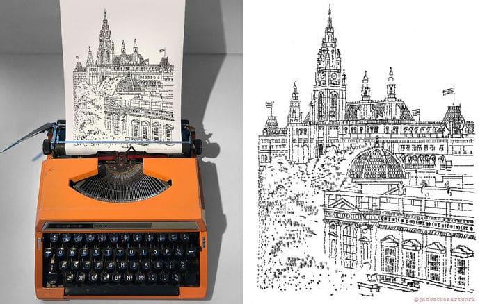Este artista desenha com uma máquina de escrever 21