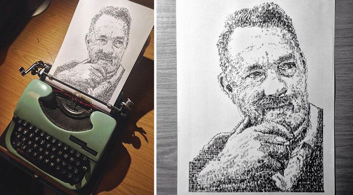 Este artista desenha com uma máquina de escrever 23