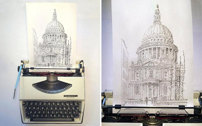 Este artista desenha com uma máquina de escrever 26