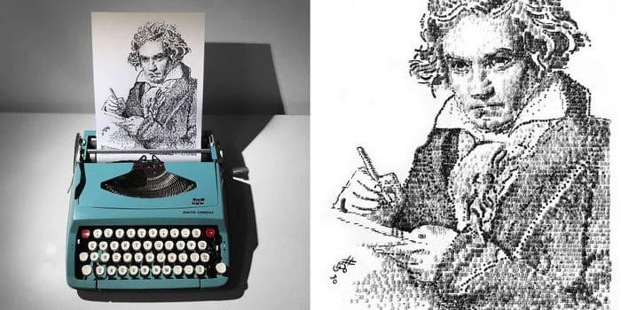 Este artista desenha com uma máquina de escrever 27