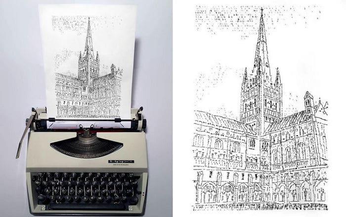 Este artista desenha com uma máquina de escrever 29
