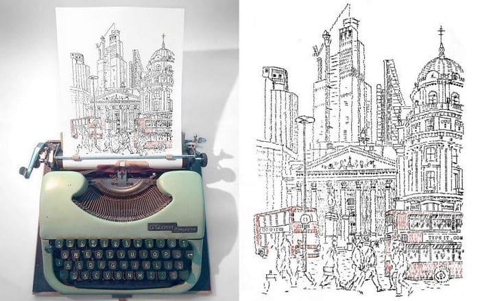 Este artista desenha com uma máquina de escrever 30