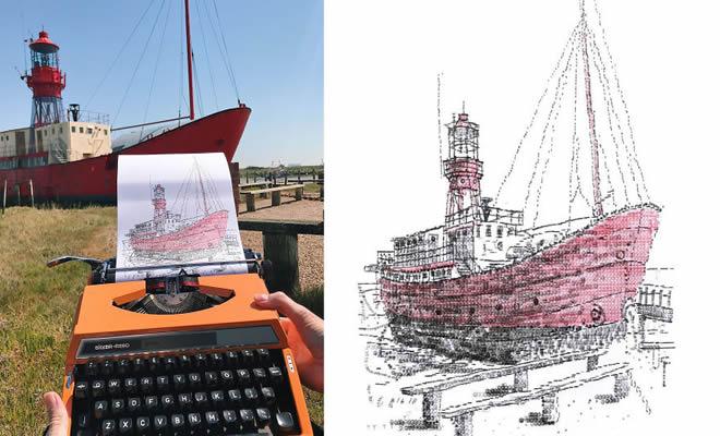 Este artista desenha com uma máquina de escrever 3