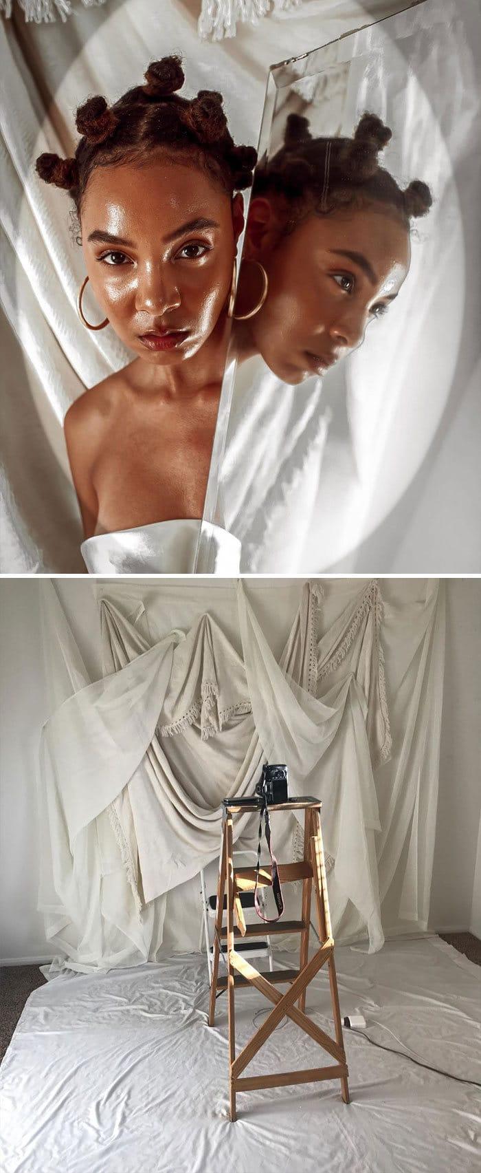Modelo tira autorretratos dignos de capa de revista em casa totalmente sozinha 6