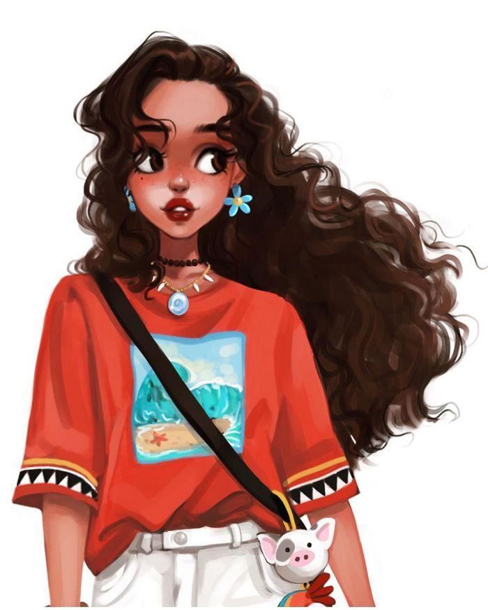 Uma artista cria looks casuais para personagens da Disney 2